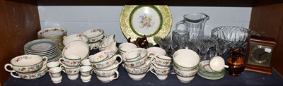 Lot 95 - Copeland Spode Chinese Rose pattern tea and dinner wares, quantity of crystal, mahogany cased...