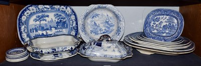 Lot 96 - A group of 19th century English blue and white pottery including a Masons Ironstone china...