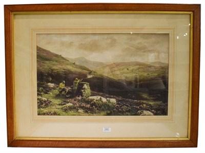 Lot 1001 - After Douglas Adams, grouse shooting, coloured print, 38.5cm by 63cm