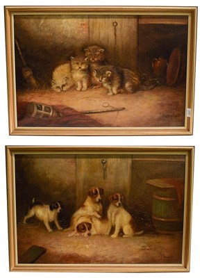 Lot 1002 - J. Langlois (1885-1904) pair of interiors with puppies and kittens, oils on canvas signed, 51cm...
