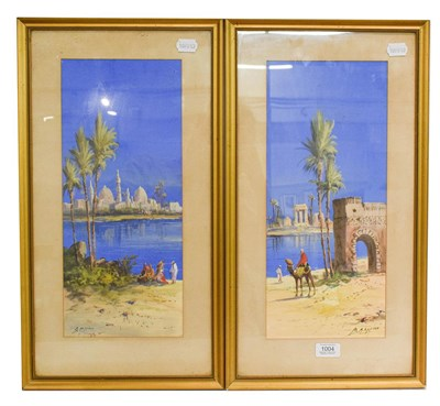 Lot 1004 - B Rappino (early 20th century) pair of Orientalist views, signed mixed media, 43cm by 18.5cm (2)