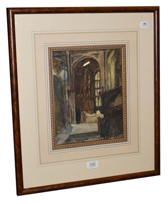 Lot 1005 - Alexander Jamieson (1873-1937) Scottish, Cathedral interior, watercolour, 29cm by 22.5cm