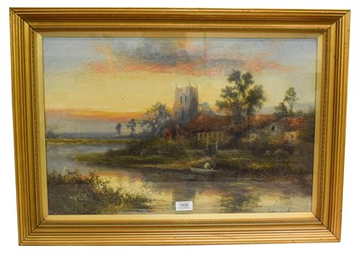 Lot 1006 - 19th Century oil on canvas lake scene with figure in a boat saigned W.Langley? 40cm by 59cm