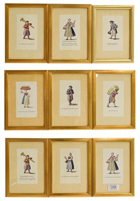 Lot 1008 - A set of nine French prints of various tradesman all framed and glazed