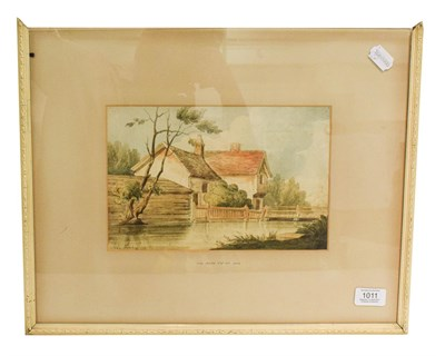 Lot 1011 - Attributed to John Varley (1778-1842), House and bridge, signed, pencil and watercolour, 17cm...