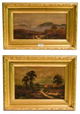 Lot 1013 - Edgar Lonestaffe (1852-1933) Flowers on a path and mountainous landscape, oils on board, 20cm...