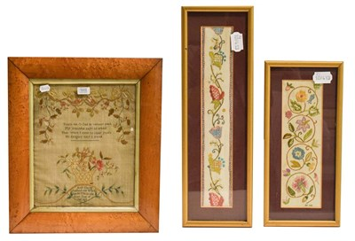 Lot 1015 - A Georgian sampler worked by Ann Young April 1796, in maple frame, 38cm by 31cm, together with...