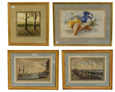 Lot 1017 - A pair of decorative prints of Greenwich, 21cm by 32cm, mixed media by Rupert Head and an...