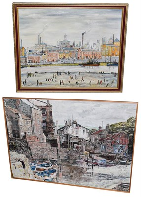 Lot 1023 - A large 20th century oil on board of a fishing harbour, 83.5cm by 122cm, together with a Lowry type