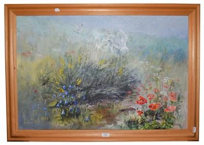 Lot 1029 - Elizabeth Alder, oil on canvas, birds amongst poppy fields, 60cm by 90cm