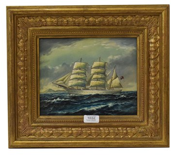 Lot 1032 - 20th Century school, Clipper, oil on board, indistinctly signed and framed, 25cm by 19.5cm