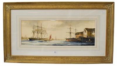Lot 1033 - Ken Hammond (b.1948) Shipping scene in an English port, signed, gouache, 23.5cm by 69cm