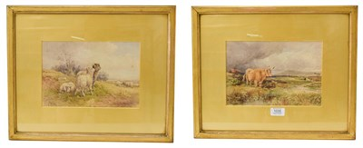 Lot 1035 - William Henry Pigott (1810-1901), sheep and highland cattle in landscapes, pair of...
