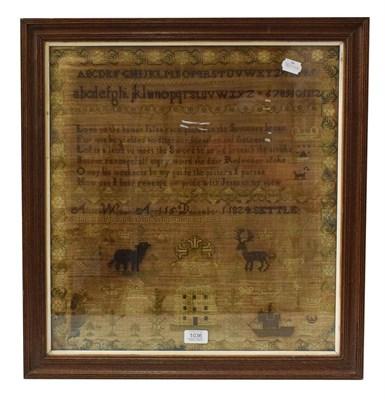 Lot 1036 - A framed Georgian sampler, Alice Wilman aged 15, December 1824, Settle, 49cm by 46cm