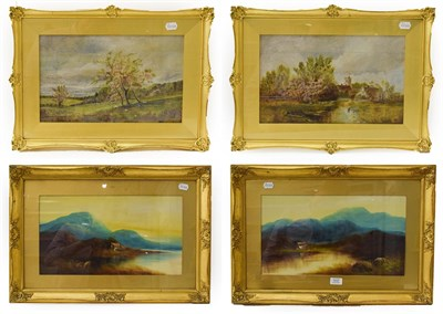 Lot 1037 - English school (early/mid 20th century) two pairs of decorative country landscapes, oil on...