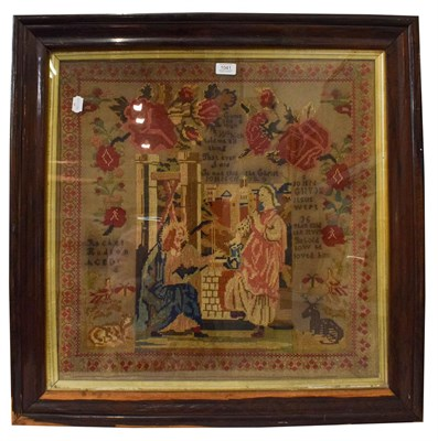 Lot 1041 - A large 19th century framed religious woolwork sampler worked by Rachel Hudson, decorated with...