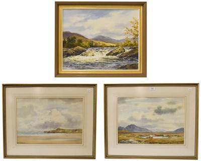 Lot 1043 - Robert Eggington (20th century) river Orchy Argyllshire, oil on canvas 39cm by 50cm, together...