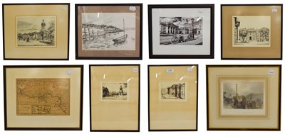 Lot 1044 - Four black and white engravings of Irish landmarks including Trinity College, a photograph of...