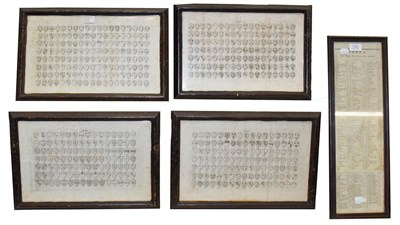 Lot 1045 - Four early 19th century plates depicting coats of arms together with an index, all framed (5)