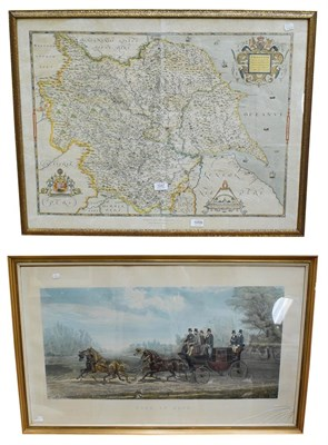 Lot 1047 - Coloured map 'Saxton's map of Yorkshire', together with a coloured engraving 'Four in Hand'...