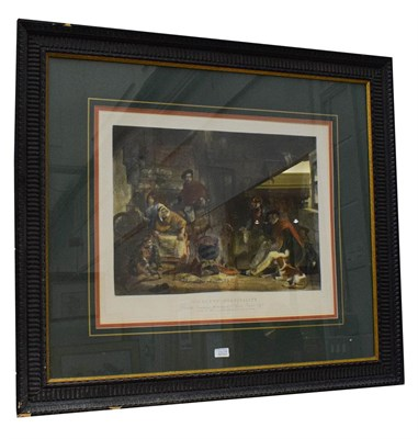 Lot 1049A - After John Fredrick Lewis (1805-1876) Highland Hospitality, coloured print, 52cm by 63cm