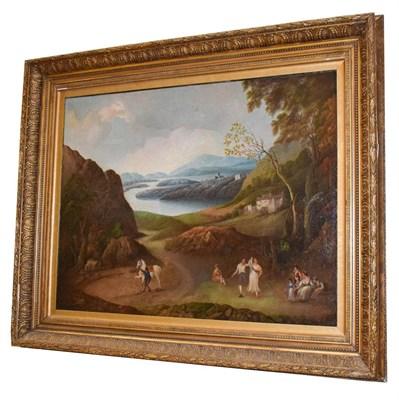 Lot 1050 - Follower of Jacob Philip Hackert (1737-1807) Figures in an extensive lakeland landscape, oil on...