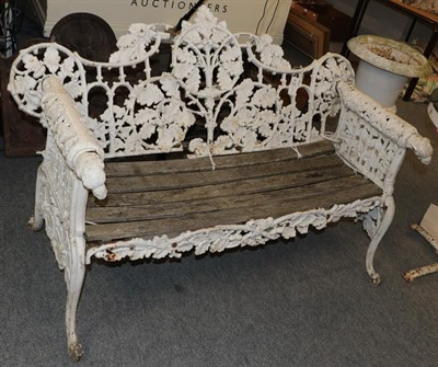Lot 1059 - 19th century Coalbrookdale style white painted cast iron garden bench (a.f.) 150cm wide