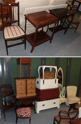 Lot 1066 - A group of furniture comprising: a mahogany trolley, 19th century mahogany corner wash stand,...