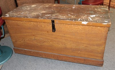 Lot 1076 - A large early 20th century pine blanket chest 145cm by 63cm by 78cm