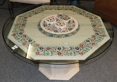 Lot 1077 - A modern pietra dura octagonal pedestal coffee table with circular glass top 105cm diameter by 55cm