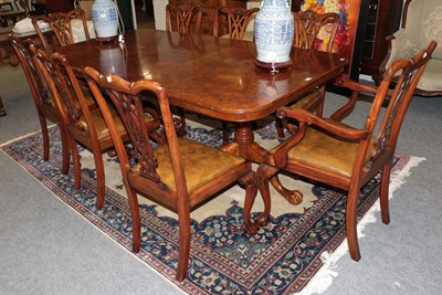 Lot 1078 - A burwood pedestal dining table 210cm by 110cm by 77cm together with a set of eight chairs...