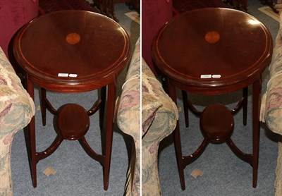 Lot 1083 - An Edwardian oval inlaid mahogany occasional table 76cm by 53cm by 73cm