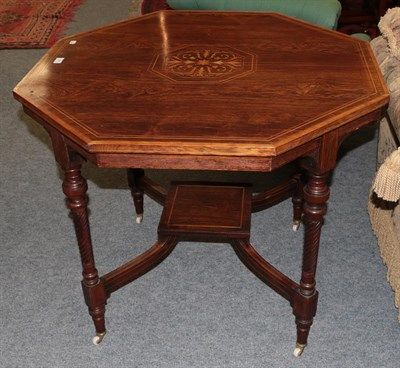 Lot 1085 - An Edwardian satin wood inlaid rosewood octagonal centre table with shelf stretcher 91cms by 76cm