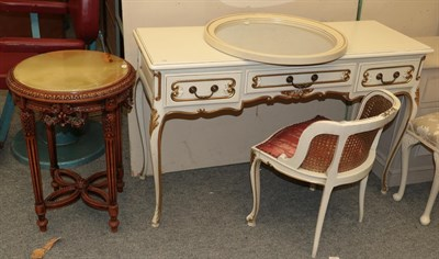 Lot 1086 - A modern painted parcel gilt dressing table 124cm by 45cm by 79cm together with a matching...