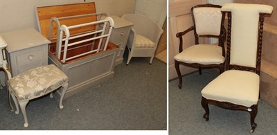 Lot 1087 - A group of painted furniture comprising a pair of bedsides, a pine blanket chest, two towel...