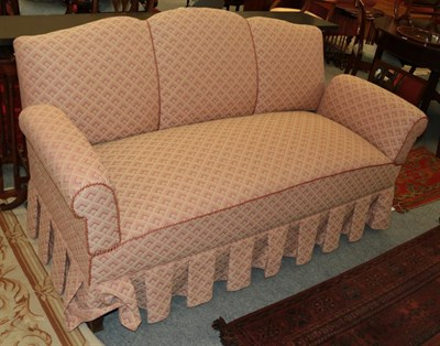Lot 1093 - An upholstered drop arm sofa, 175cm, together with a button back low chair in matching fabric (2)