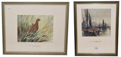 Lot 1030 - Alan Thorpe (20th century), Grouse In the Grass and Coal Barges C.1930, two watercolours, one...
