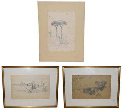 Lot 1031 - In the manner of William James Müller (1812-1845), three pencil sketches, unsigned (two framed)