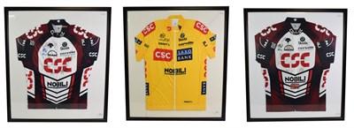 Lot 3002 - Tour De France 2007 Signed Shirts two Skoda Nobili CSC shirts bearing various signatures...