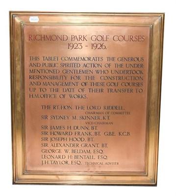 Lot 3003 - Richmond Park Golf Club Brass Plaque 1923-26 'This tablet commemorates the generous and public...