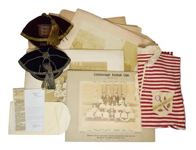 Lot 3004 - Charlie Beasley Victorian Rugby Union Items consisting of Lancashire Cap 1897-8 outfitter James...