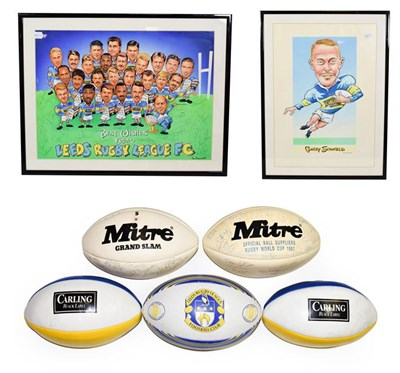 Lot 3007 - Leeds Rugby League FC Two Signed Prints (i) caracatures of players with multiple autographs...