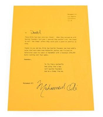 Lot 3013 - Muhammad Ali Signed Letter beginning 'Hi David' and addressed Muhammad Ali Los Angeles...