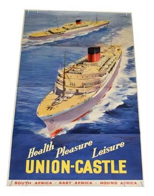 Lot 3016 - Advertising Poster: Union Castle Health-Pleasure-Leisure by Johnston 24x39'', 63x100cm (G-E)
