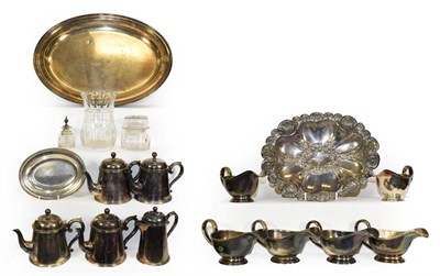 Lot 3017 - Atlantic Transport Line Metalware Group four teapots, coffee pot, six gravy boats, large and...