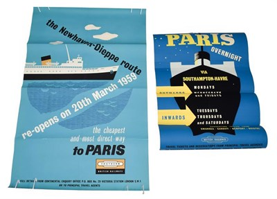 Lot 3020 - British Railways Advertising Posters (i) BR(S) The Newhaven-Dieppe Route re-opens on 20th March...