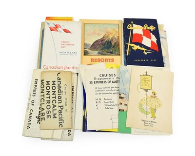 Lot 3022 - Canadian Pacific Paperwork including deck plans for Empress of England, Empress of Australia,...