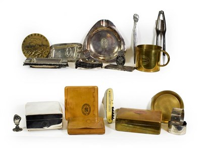 Lot 3023 - Continental Shipping Metalware Group SS Nieuw Amsterdam 1st Class brass cigarette box, cup and...