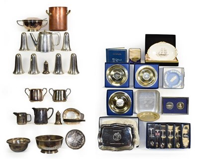 Lot 3026 - Cunard Metalware Group copper asparagus pot, six large and one small pepper shakers, serving...