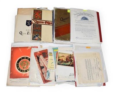 Lot 3027 - Cunard Paperwork including The Giant Cunarders: Berengaria, Aquitania Mauritania booklet; The...